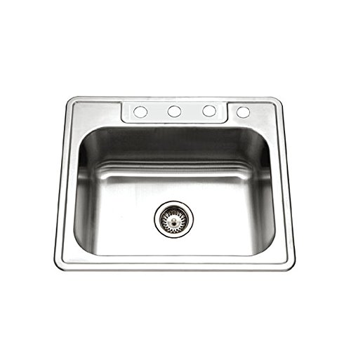 houzer 2522 9bs4 1 glowtone series topmount stainless steel 4 hole single bowl kitchen sink 9 inch deep overall size 25 u2033 x 22 u2033 bowl 21 u2033 x 15 75 u2033 x 9 u2033 deep     houzer   stainless steel sink shop  rh   stainlesssteelsinkshop com