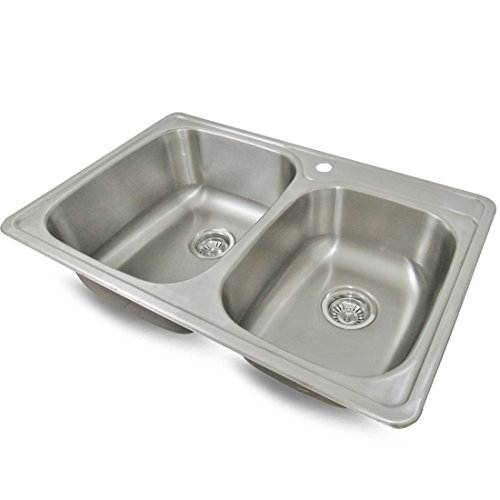 Sink Smart 33 Inch Double Bowl 1 Hole Drop In Durable Kitchen Sink 18 Gauge
