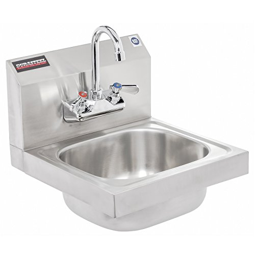 DuraSteel 3 Compartment Stainless Steel Bar Sink with 10 L x 14 W x 10 D Bowl Faucet Included Underbar Basin Restaurant, Kitchen, Hotel, Bar Right Drainboard NSF Certified