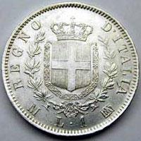 Retro di 1 Lira del 1863 (croce)
