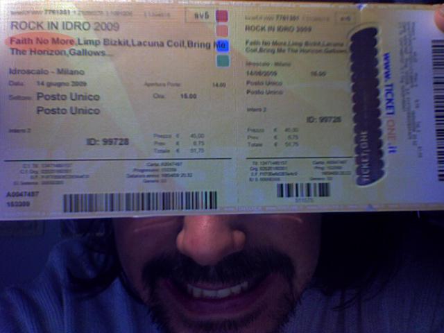 Biglietto del concerto dei Faith No More