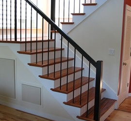 Styles Of Wrought Iron Stairs Spindles Change Wood Stairs To | Wood Railing With Metal Spindles | Metal Stair | Decorative | Different Kind Wood | Wood Handrail | Modern