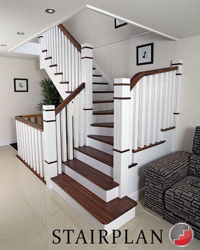 Denver Walnut Staircase Black X Glass Barade