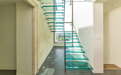 Glass Stairs Siller Stairs | Glass Banisters For Stairs Price | Floating Stairs | Oak Staircase | Oak Handrail | Wood | Curved Glass