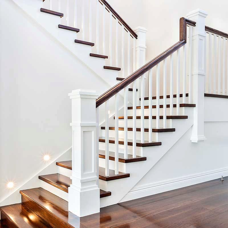 A Craftsman Style Stair Remodel Done Right Stairsupplies™   Mission Style Stair Railing   Modern   Metal Picket   Decorative Glass   Staircase   Bannister