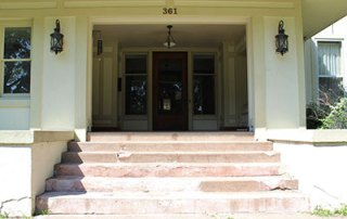 Front Steps during Restoration of the A.E. Staley Home in Decatur, Illinois