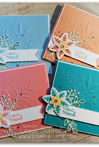 FLoral Happiness 4x4 card by Leonie Schroder Independent Stampin' Up! Demonstrator Australia. Uses Lovely Floral Embossing Folder and Happiness Surrounds Stamp Set from Stampin' Up!