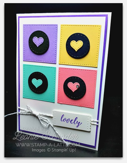 Lovely Hearts using Stitched All Around Bundle by Leonie Schroder Independent Stampin' Up! Demonstrator Australia #stampalatte #stampinup #stitchedallaround #love