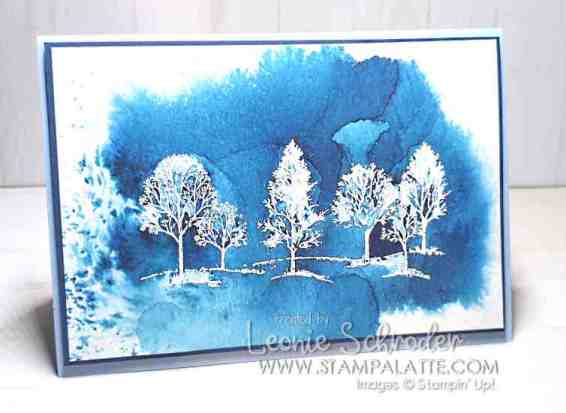 Brusho Resist with Lovely as a Tree by Leonie Schroder Independent Stampin' Up! Demonstrator Australia