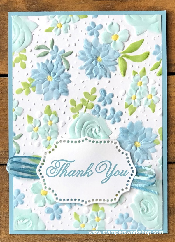 EMBOSSED NEW Greeting Card BLUE MOUNTAIN Tulip Flower I Want To Thank You