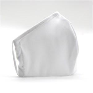 KIT Mascherina FASHION DOPPIO STRATO in poliestere bianco 100% + POCHETTE con moschettone lavabile e riutilizzabile