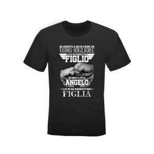 """T-shirt nera 100% cotone """"Figlio e FIglia"""""""