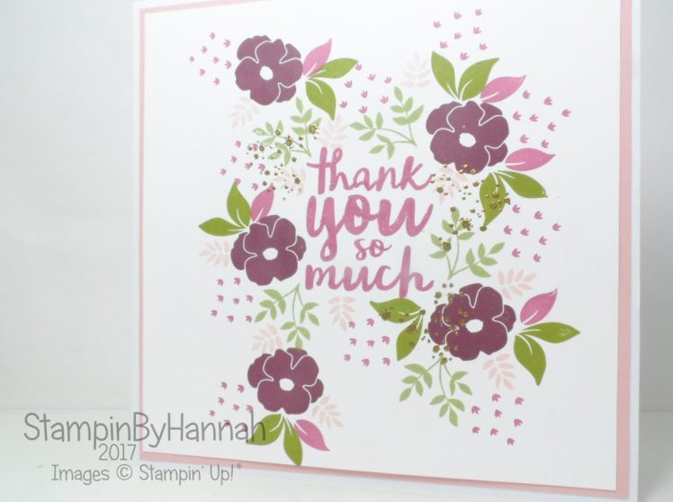 Fun Floral Thank you card using Thankful Thoughts, Oh So Eclectic, Lots of Love and Awesomely Artistic from Stampin' Up!