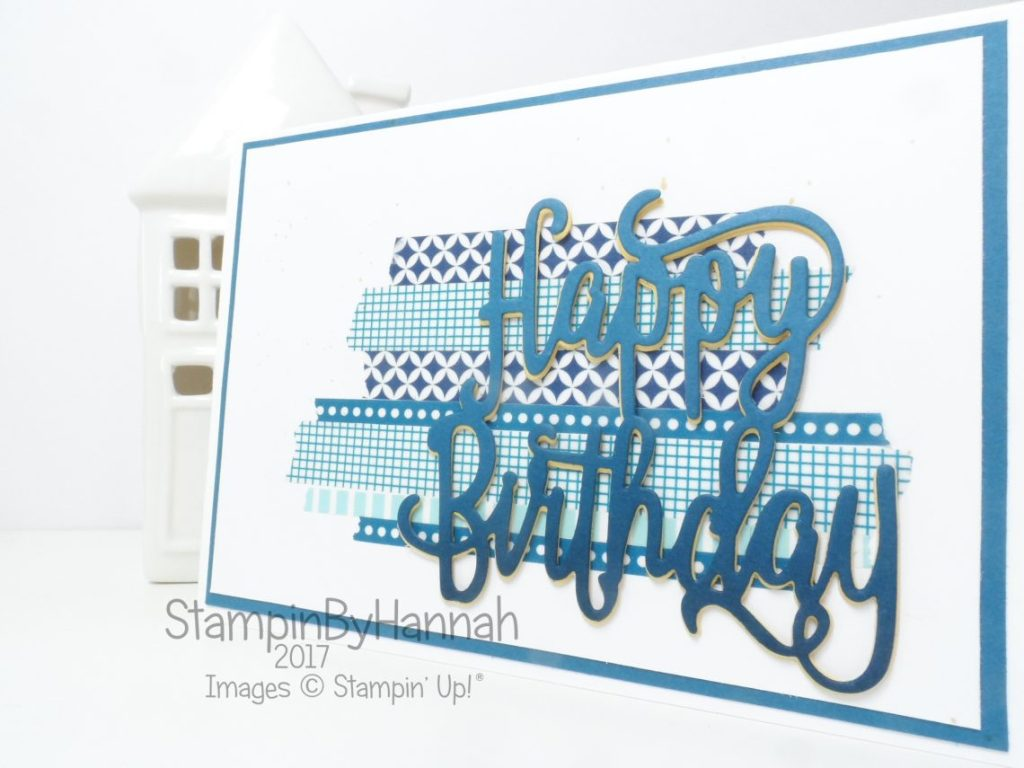 Pootles Papercraft Birthday Blog Hop August 2017 Boys Birthday Card using Happy Birthday Thinlit from Stampin' Up!