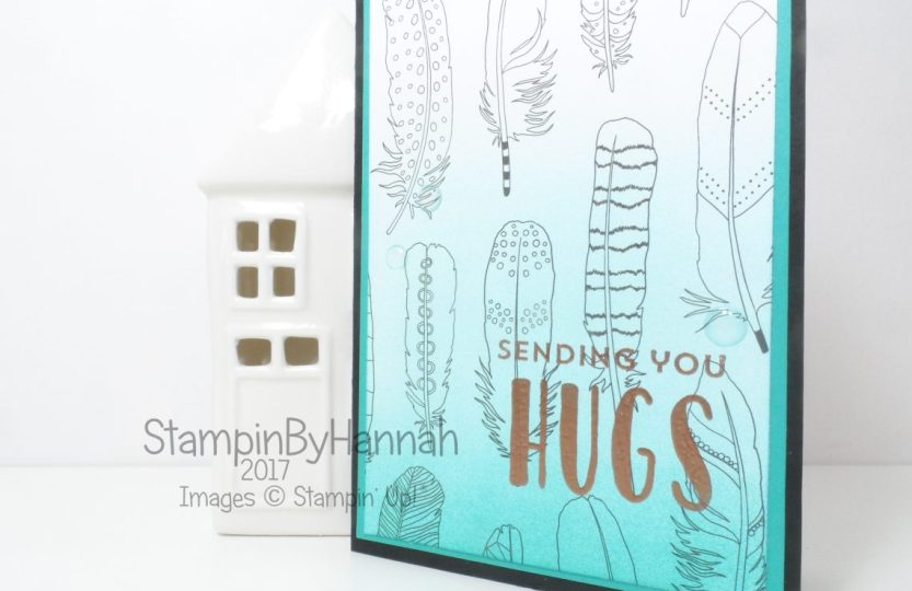 Simple Sunday Just Add Colour Designer Series Paper ombre ink Sending you Hugs card using Stampin' Up! Lovely inside and out