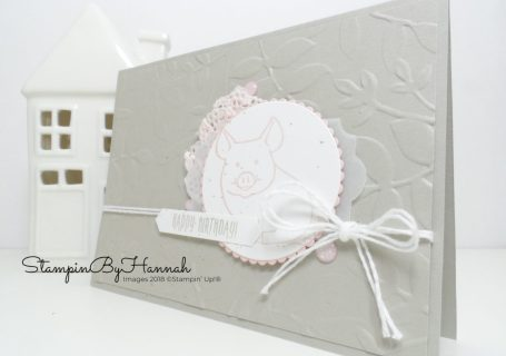 Cute and Girly Birthday Card using This Little Piggy from Stampin Up!