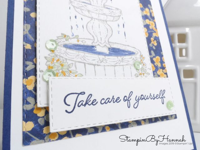 Take care of yourself card using Flowing Fountain from Stampin' Up! with StampinByHannah