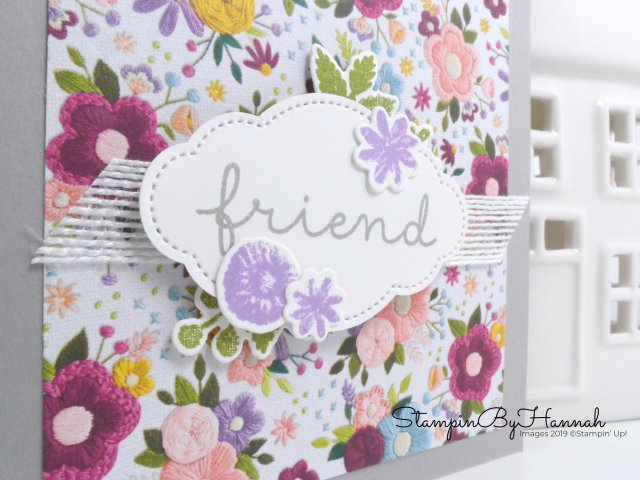 Stitched Friend card using Needlepoint Nook from Stampin' up! with StampinByHannah