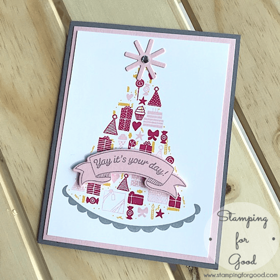 Stamping for Good Stampin Up Card Idea Party Hat Birthday Pink Melon Mambo