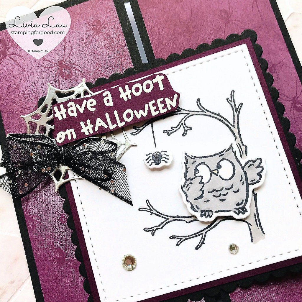 Have A Hoot Halloween Spider Gatefold Card Close Up
