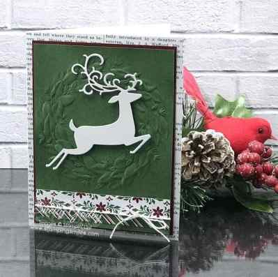 Stampin' Up! Dashing Deer card designed by Shelly Godby of www.stampingsmiles.com with Stampin' Up! Dashing Deer Stamp Set and Stampin' Up! Detailed Deer Thinlits Dies for an elegant handmade Christmas card