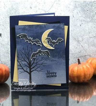 Stampin' Up! Spooky Sweets card designed by Shelly Godby of www.stampingsmiles.com with Stampin' Up! Spooky Sweets Stamp Set and Stampin' Up! Spooky Bats Punch