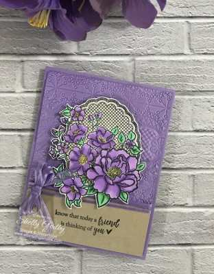 Lovely handmade feminine card designed by Shelly Godby of www.stampingsmiles.com with the Stampin' Up! Lovely Lattice Stamp Set