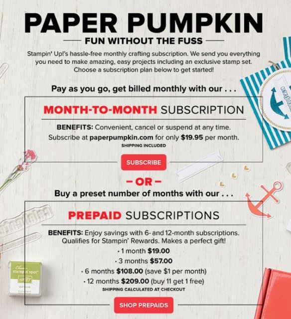 tampin' Up! Paper Pumpkin special to celebrate it's sixth birthday with an exclusive stamp set for everyone subscribed by March 10, 2019!
