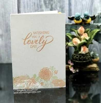 Soft and pretty rose note card designed by Shelly Godby of www.stampingsmiles.com with the Stampin' Up! Forever Lovely Stamp Set
