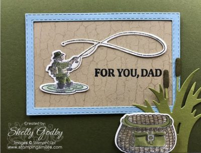 Stampin' Up! Best Catch card designed by Shelly Godby of www.stampingsmiles.com with the Stampin' Up! Best Catch Stamp Set for a handmade Father's Day card for fishermen