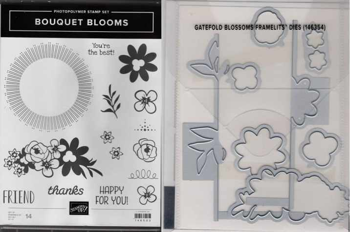 Bouquet Blooms Photopolymer Stamp Set & Gatefold Blossoms Framelits Dies $35