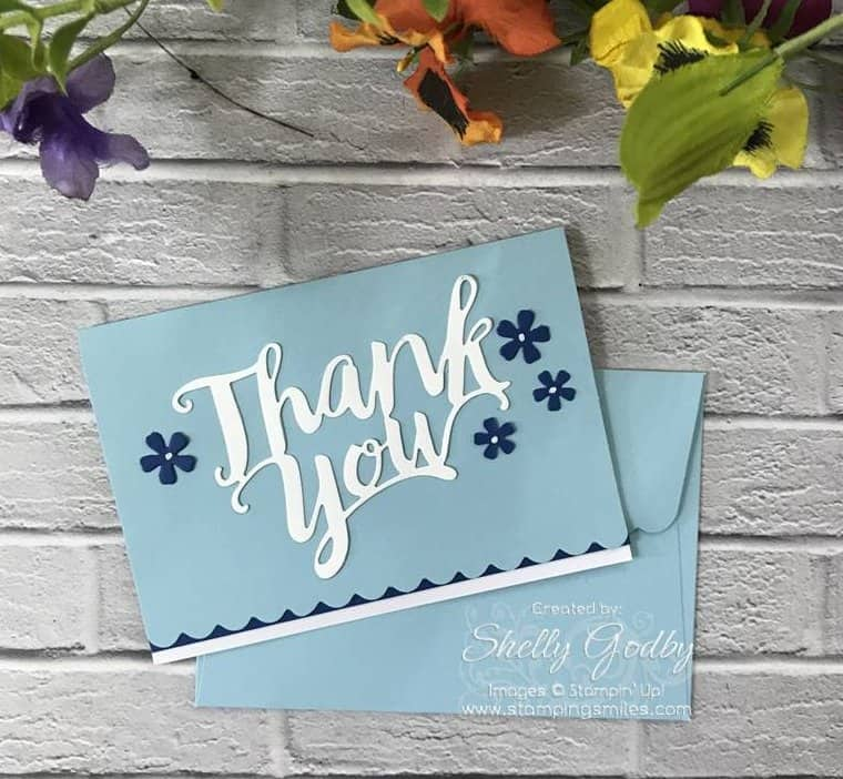 Thank You Cards Handmade Thank You Gift Ideas Thank You Card With Envelope Stampin Up Card