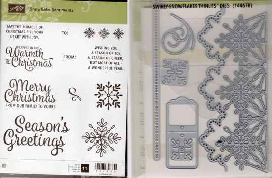Snowflake Sentiments Clear-Mount Stamp Set & Swirly Snowflakes Thinlits Dies $42