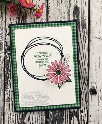 Clean and simple flower card with the Stampin' Up! Sweetly Swirled Stamp Set and Stampin' Up! Daisy Lane Stamp Set designed by Shelly Godby of www.stampingsmiles.com