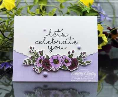 Pretty Purple Posy Stampin' Up! Bloom & Grow card designed by Shelly Godby of www.stampingsmiles.com