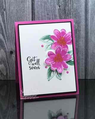 Clean and simple card stamped with the Stampin' Up! Gorgeous Posies Stamp Set www.stampingsmiles.com