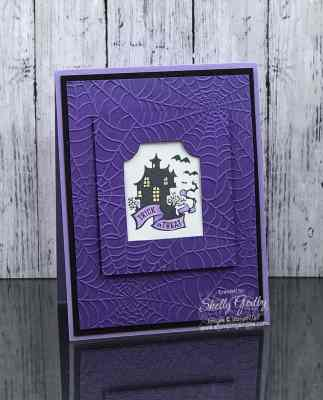 Handmade haunted house Halloween card with Stampin' Up! Everything Essential Stamp Set