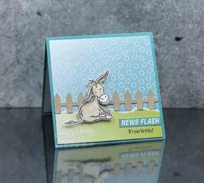 Handmade card with donkeys stamped with the Stampin' Up! Darling Donkeys Stamp Set