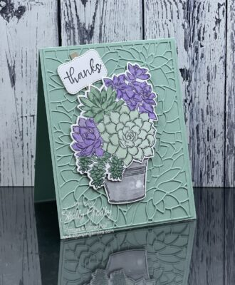 Heavenly Stampin' Up! Simply Succulents card idea by Shelly Godby of www.stampingsmiles.com