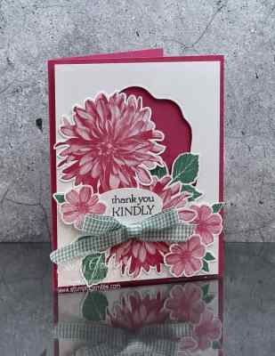 My first version of my Stampin' Up! Delicate Dahlias cards www.stampingsmiles.com