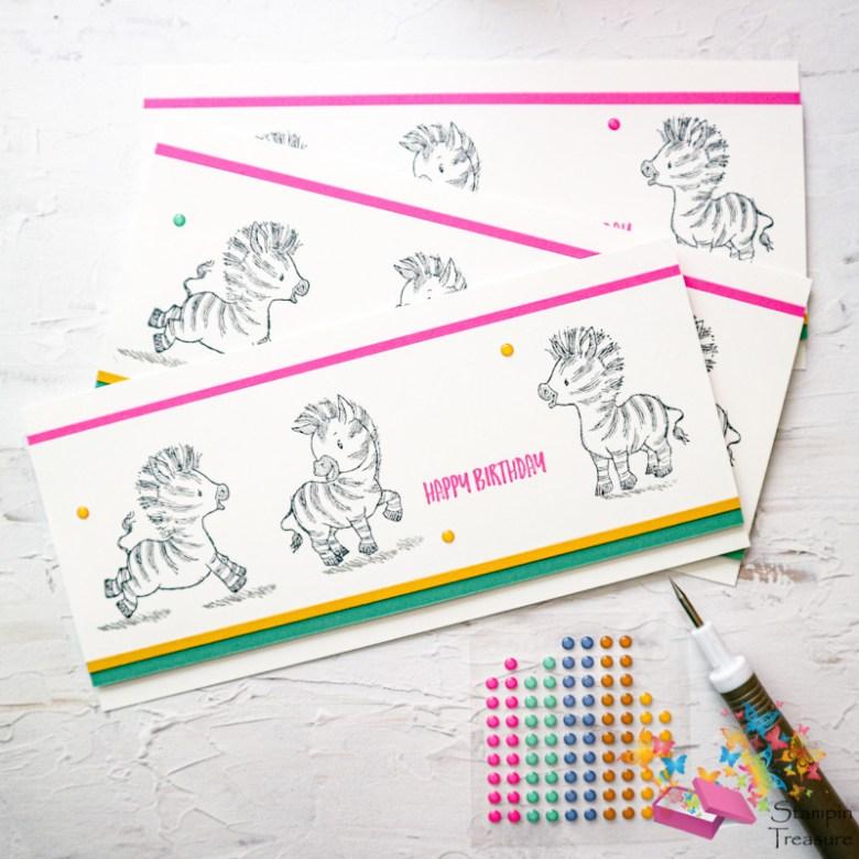 zany zebras, verjaardagskaart, in colors, 2020, stampin up, stampin treasure