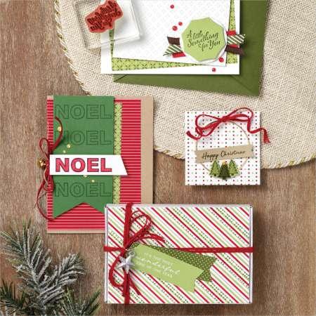voorbeeld, cadeauseizoen, wrapped in christmas, stampin up, stampin treasure