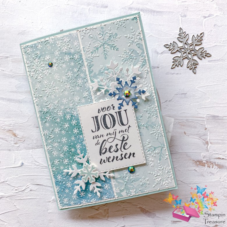 card, gift, kaart, cadeau, winterpracht, snowflake splendor, desinger paper, papier met design, sneeuwvlokken, kerst, stampin up, stampin treasure, fun fold