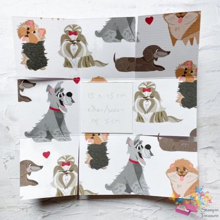 Materiaal, box in een kaart, papier met design, dsp, designer series paper, stampin up, playful pets