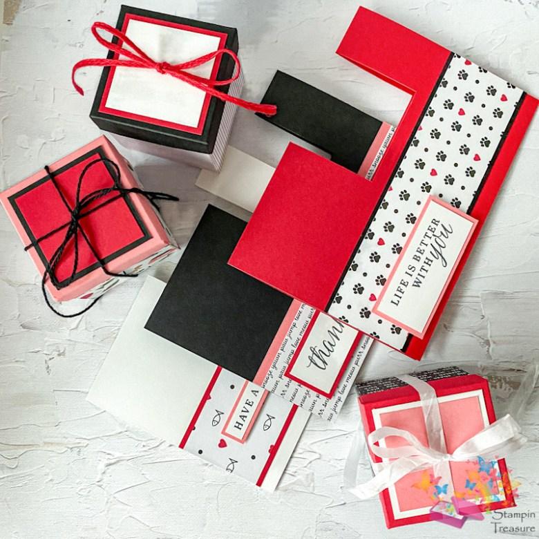 box in een kaart, papier met design, dsp, designer series paper, stampin up, playful pets