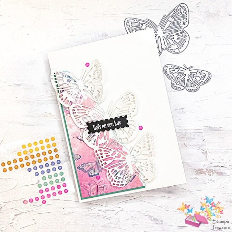 butterfly brilliance, brilliant wings, stampin up, stampin treasure, dies, vlinderwolk