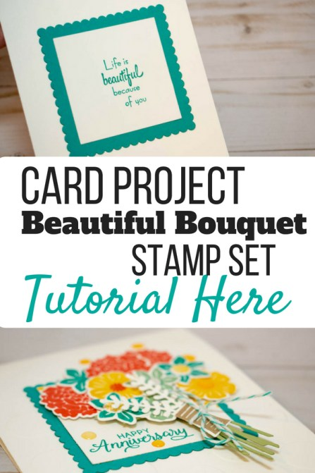 Learn how to make this anniversary card with the Stampin' Up! Beautiful Bouquet Stamp set. Bermuda Bay | Calypso Coral | Daffodil Delight | Card tutorial | Free PDF | #stampmesomelove #stampinup #cardtutorial