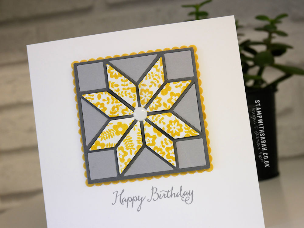 A Birthday Card Created With The Quilted Christmas Framelits By Stampin Up