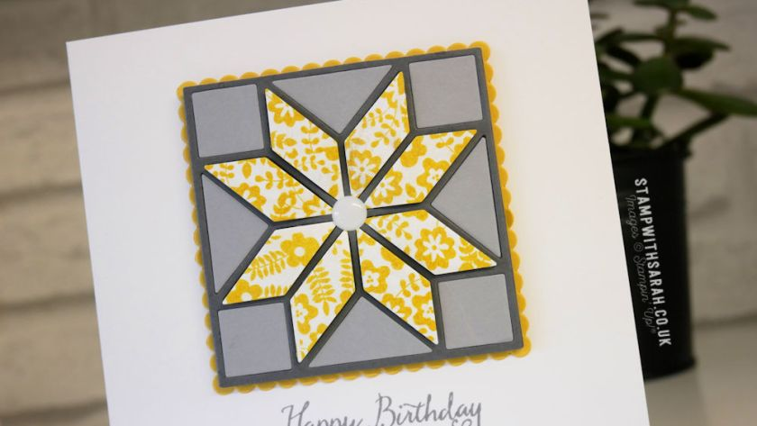 A Birthday card created with the Quilted Christmas Framelits by Stampin' Up!