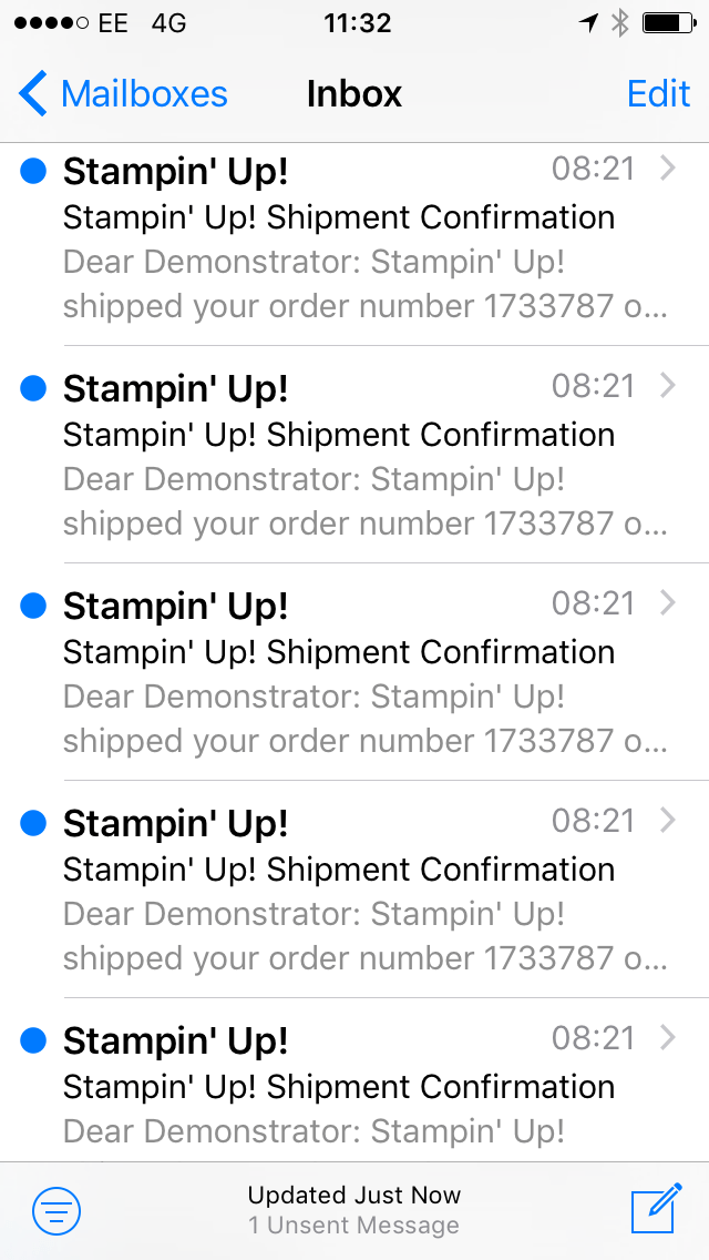 Shipment Confirmation emails from Stampin' Up! New Catalogues were on their way!!